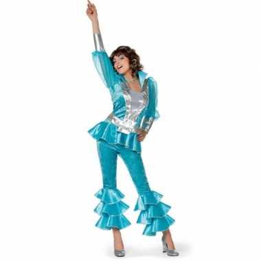 Blauw disco verkleedkleding dames tip