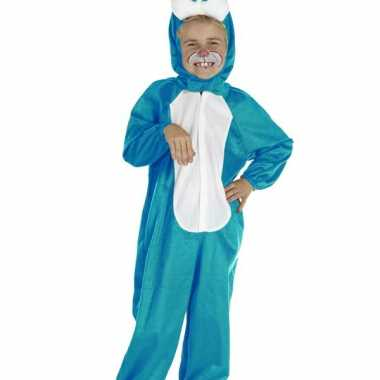 Blauw konijnen verkleedkleding kind tip