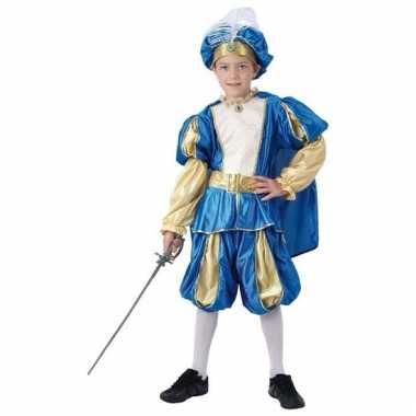 Blauw prinsen verkleedkleding jongens tip