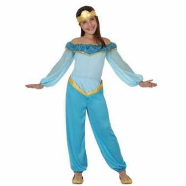 Carnavals verkleedkleding lichtblauwe arabische prinses tip