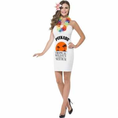 Carnavalsverkleedkledings dames wit peekabu tip