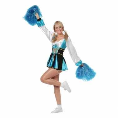 Cheerleader verkleedkleding aqua/wit vrouw tip