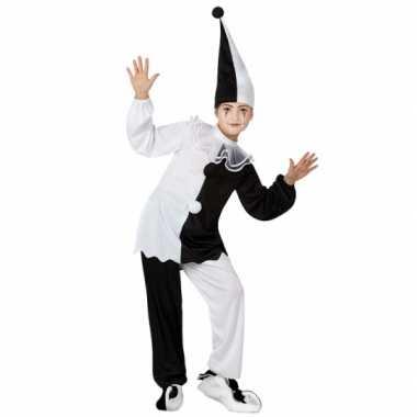 Clown verkleedkleding zwart/witte pierrot tip