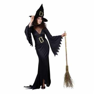 Dames verkleedkleding zwarte heks tip