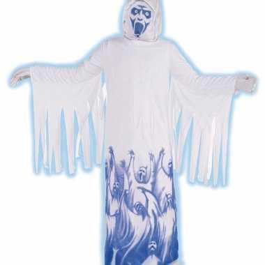 Demonen verkleedkleding wit blauw tip