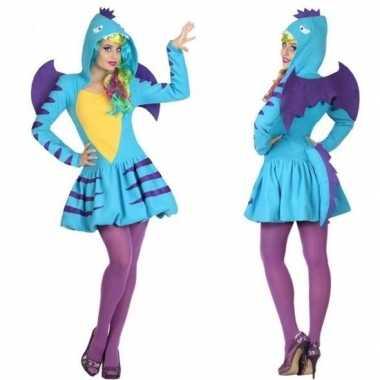 Dierenverkleedkleding blauwe draak verkleed verkleedkleding/jurk dam