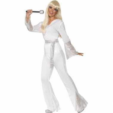 Disco verkleedkleding dames wit tip