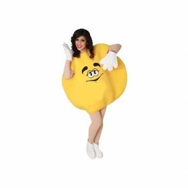 Geel skittle verkleedkleding volwassenen tip