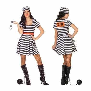Gevangene/boef bonnie verkleed verkleedkleding/jurk dames tip