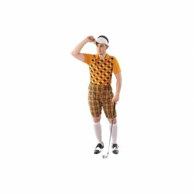 Golfers verkleedkleding oranje heren tip