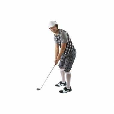 Golfers verkleedkleding zwart/wit heren tip