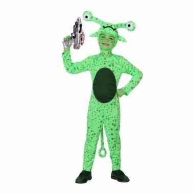 Groen alien verkleedkleding inclusief space gun kind tip
