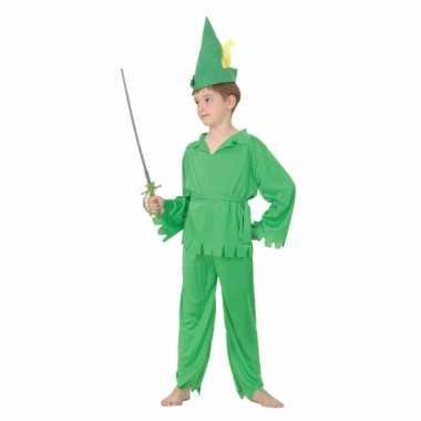 Groene bosjongen verkleedkleding kind tip