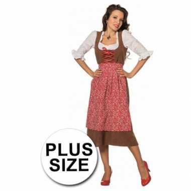 Grote maat lange luxe tiroler verkleedkleding vrouwen tip