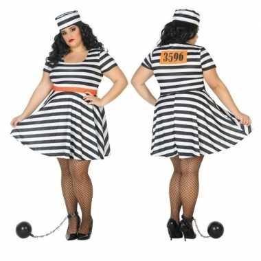 Grote maten gevangene/boef bonnie verkleed verkleedkleding dames tip
