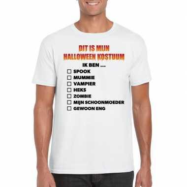 Halloween halloween verkleedkleding lijstje t shirt wit heren tip