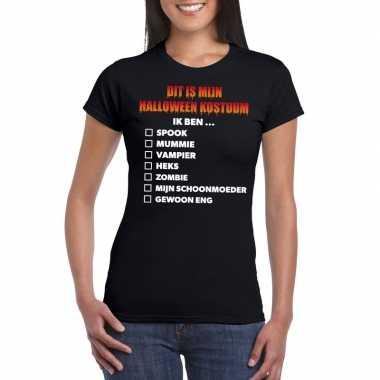 Halloween halloween verkleedkleding lijstje t shirt zwart dames tip