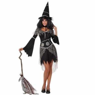 Heksen verkleedkleding zwart jurkje dames tip