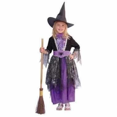 Heksen verkleedkleding zwart/paars kind tip