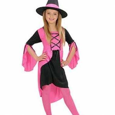 Heksenverkleedkleding meisjes roze tip