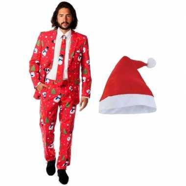 Heren opposuits kerst verkleedkleding rood kerstmuts maat 54 (2xl) t