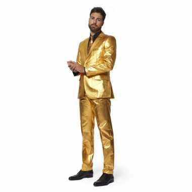 Heren verkleed verkleedkleding/verkleedkleding metallic goud stropdas tip