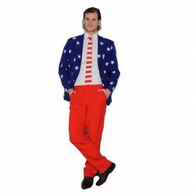Heren verkleedkleding USA vlag print tip