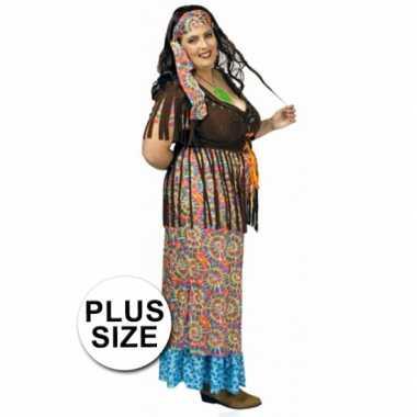 Hippie verkleedkleding gekleurd een grote maat tip