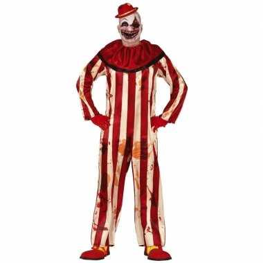 Horror clown billy verkleed verkleedkleding rood/wit heren tip