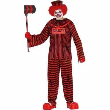 Horror clown gevangene verkleed verkleedkleding rood/zwart heren tip