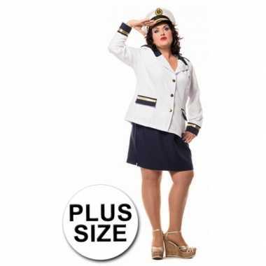 Kapitein verkleedkleding dames grote maat tip