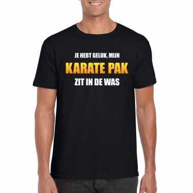 Karateverkleedkleding zit was heren carnaval t shirt zwart tip