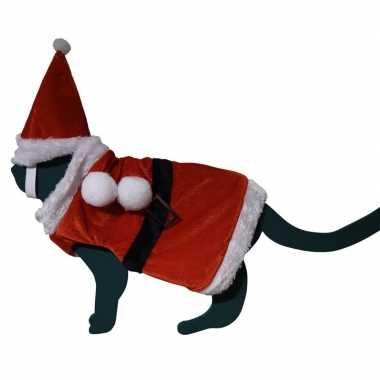 Katten / poezen kerstmanverkleedkledingje hoed one size tip
