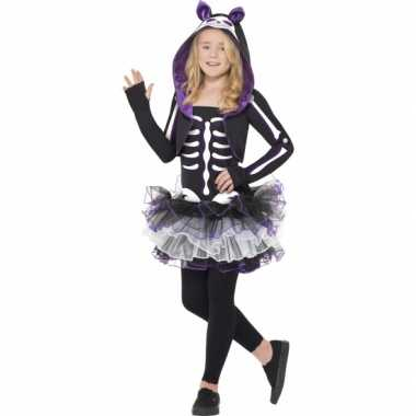 Katten skelet verkleedkledingje meisjes tip