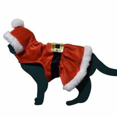 Kerstman verkleedkledingje verkleedkleding kat/poes tip