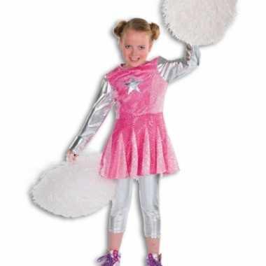 Kind cheerleader verkleedkleding roze tip
