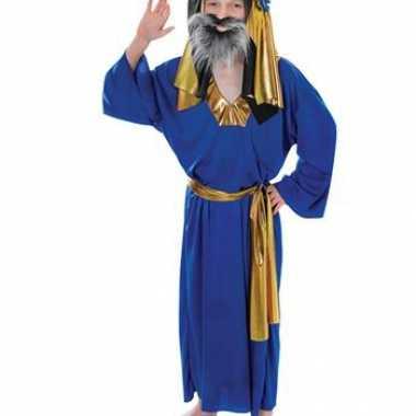 Kinder kerst verkleedkleding blauw Drie Koningen tip