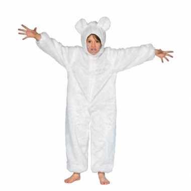 Kinder pluche ijsberenverkleedkleding wit tip