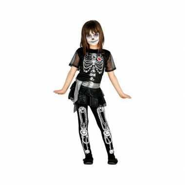 Kinder verkleedkleding skelet jurkje sieraden tip