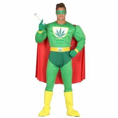 Marihuana man superheld verkleed verkleedkleding heren tip