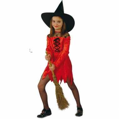 Meisjes verkleedkleding rode heksenjurk tip