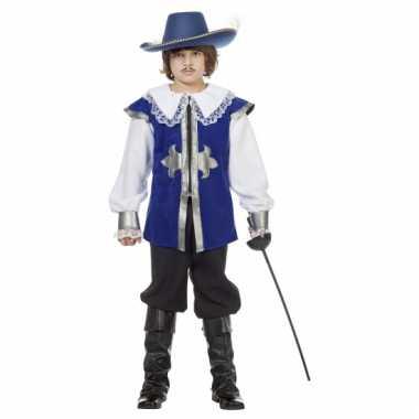 Musketier Carnavalsverkleedkleding blauw tip