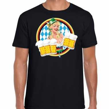 Oktoberfest / bierfeest drank fun t shirt / verkleedkleding zwart beierse kleuren heren tip