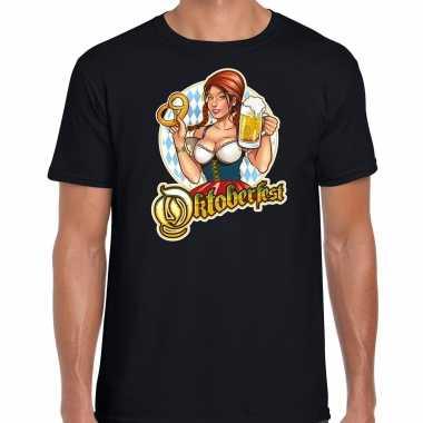 Oktoberfest / bierfeest drank fun t shirt verkleedkleding zwart heren tip