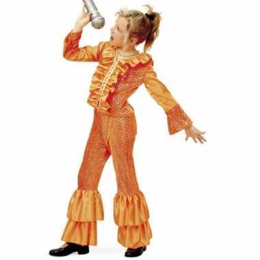 Oranje glitter verkleedkleding meisjes tip
