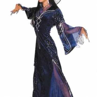Paarse heksenverkleedkleding dames tip