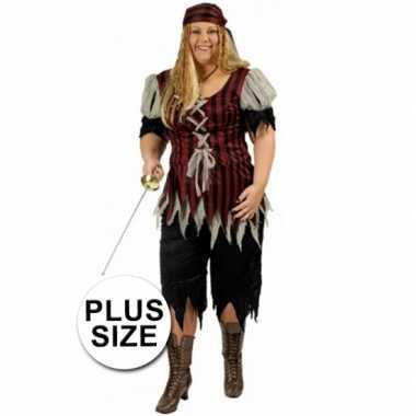 Piraten dames verkleedkleding grote maat tip