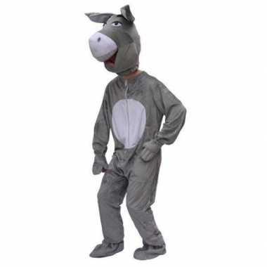 Pluche carnavalsverkleedkleding ezel tip