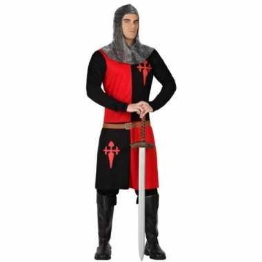 Ridder verkleed verkleedkleding zwart/rood heren tip