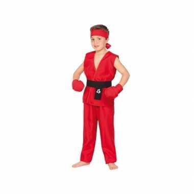 Rood Kung Fu verkleedkleding kind tip